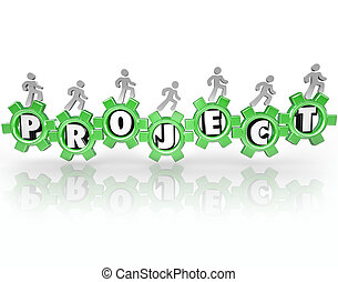 accomplir, mot, gens fonctionnement, ensemble, projet, tâche, engrenages
