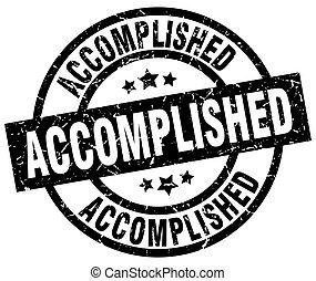 accomplished round grunge black stamp
