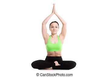 alternate nostril breathing in yoga sukhasana pose calm