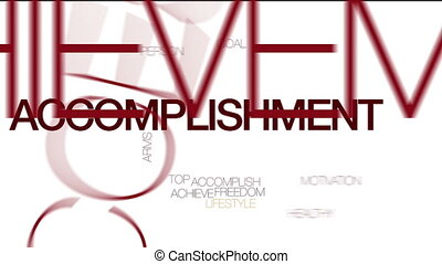 Accomplishment animated word cloud. Kinetic typography.