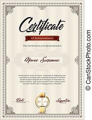 accomplissement, cadre, certificat, vendange