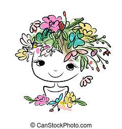 acconciatura, disegno, femmina, floreale, ritratto, tuo