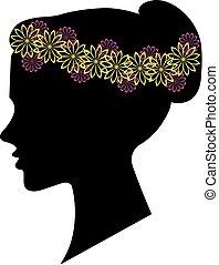 acconciatura, donna, silhouette, disegno, floreale, tuo