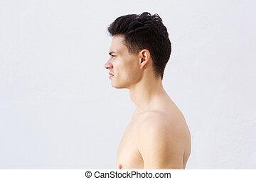acconciatura, giovane, fresco, shirtless
