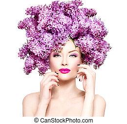 acconciatura, moda, bellezza, lilla, modello, fiori, ragazza