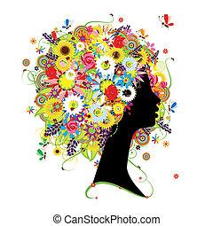 acconciatura, profilo, disegno, femmina, floreale, tuo