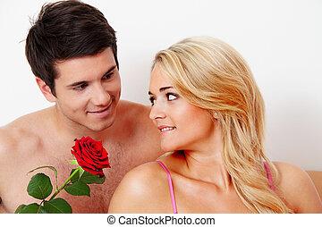 accoppi letto, con, rose., proposta