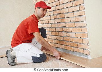 accoppiamento, lavoratore, carpentiere, parket, pavimento