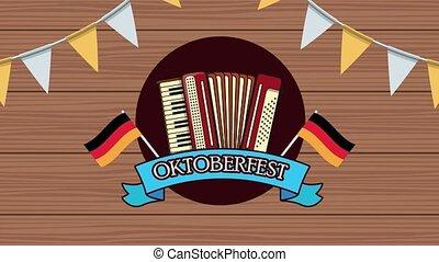 accordéon, heureux, allemagne, oktoberfest, animation, ...