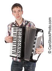 accordeon, op, vrijstaand, witte , spelend, man