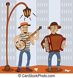 accordion banjo serenade players - Funny illustration of two...