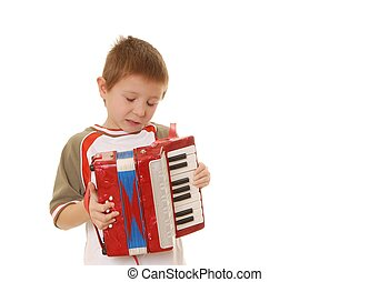 Accordion Boy 35 - Isolated young boy playing a diatonic...