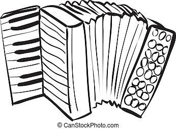Accordion Doodle - Vector illustration of accordion in black...