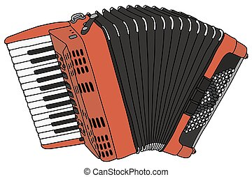 Accordion - Hand drawing of a classic red accordion