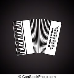 Accordion icon. Black background with white. Vector...