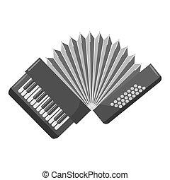 Accordion icon, gray monochrome style