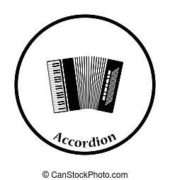 Accordion icon. Thin circle design. Vector illustration.