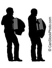 Accordion - Music man whit accordion on white background