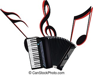 Accordion musical instrument - musical instrument black...