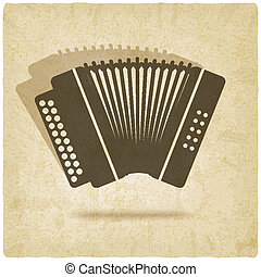 accordion old background - vector illustration