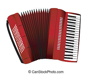 Accordion on the white background