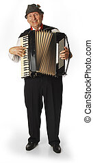 accordion player on white background