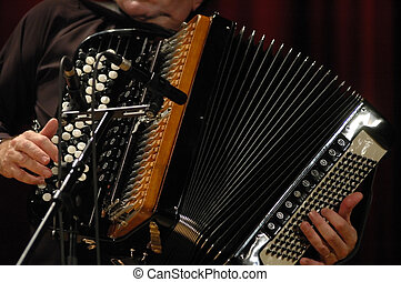 Accordion - Playing accordion during live jazz session in...
