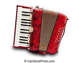 Accordion - Retro small red accordion isolated on white