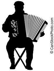 Accordion - Vector drawing of an old man with an accordion