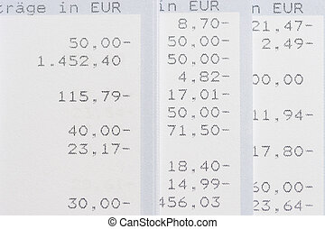 Account statements in euro