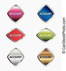 Account stickers, web icon button