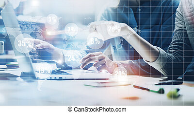 Account team meeting. Photo young business crew working new startup project. Notebook wood table. Idea presentation, analyze marketing plans. Digital Connections World Wide Interfaces Screen. Black white