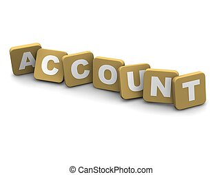 Account text. 3d rendered illustration isolated on white.