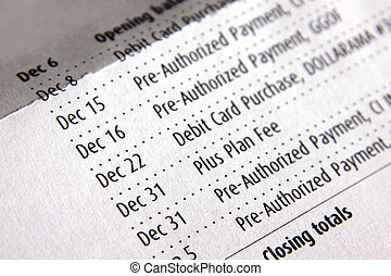 Account Transactions - A list of transations for a bank...