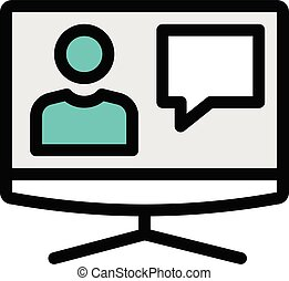 account vector colour line icon