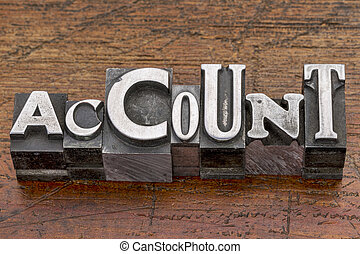 account word in metal type