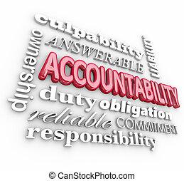 accountability, 3, szó, kollázs, felelősség, bűnösség,...