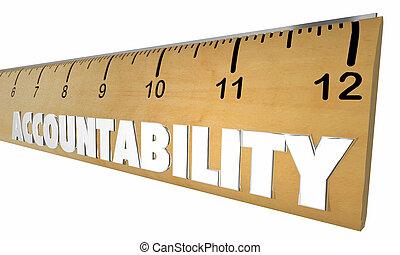 Accountability Responsibility Measure Ruler Word 3d ...