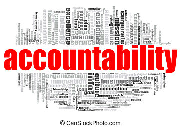 Accountability word cloud concept on white background, 3d ...
