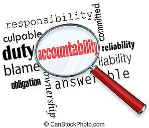 accountability, zoeken, vinden, responsibile, mensen,...