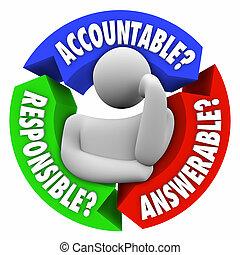accountable, 責任がある, answerable, 人, 考え, だれか, ある, へ, bla