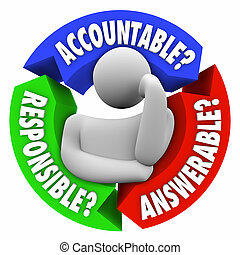 accountable, verantwoordelijk, answerable, persoon, denken,...