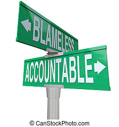 Accountable Vs Blameless Two Way Road Street Intersection Signs
