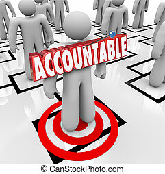 Accountable word in 3d letters pinned onto a worker standing on an org chart as placing the blame or making someone a scapegoat for a problem