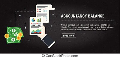 Accountancy balance banner internet with icons in vector. -...