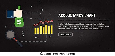 Accountancy chart banner internet with icons in vector. -...
