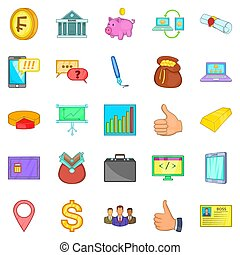 Accountancy icons set, cartoon style - Accountancy icons...