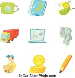 Accountancy icons set, cartoon style - Accountancy icons...