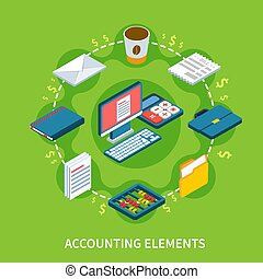 Accountancy Isometric Round Composition - Accounting...