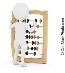 accountant - 3d man with abacus isolated on white background